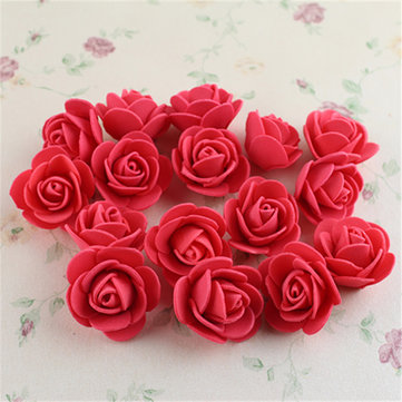 50Pcs Colourfast Handmade Foam Rose Flowers Bouquet DIY Wedding Party Decoration, Clear/pink red flesh pink orange yellow light green purple milk white pure white blue rose red dark green multi color