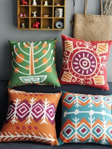Colorful Bohemian Style Throw Pillow Cases Square Cushion Cover Home Sofa Decor