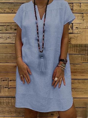الصلبة اللون فستان عارضة