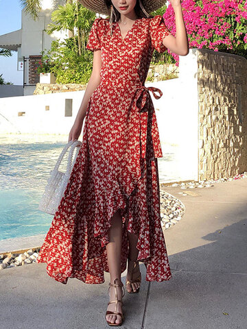 Holiday Floral Knotted Ruffle Dress