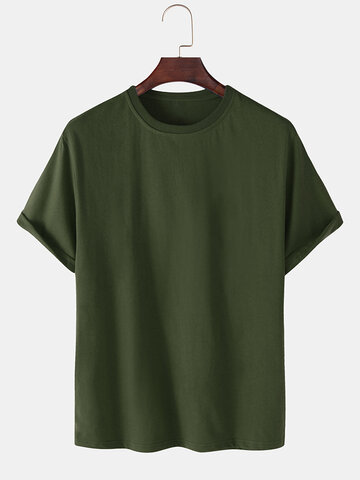 100% Cotton Solid Color Casual T-Shirts