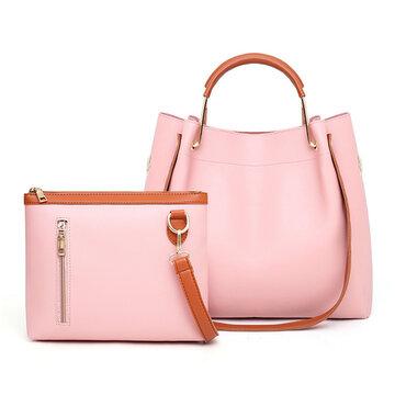 2 PCS Women PU Leather Handbag Leisure Crossbody Bag
