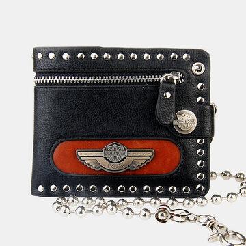 Genuine Leather Business RFID Geometric Multi-pocket Card Holder Wallet Rivet Chain