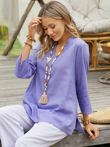 Solid Color Slit Casual Blouse
