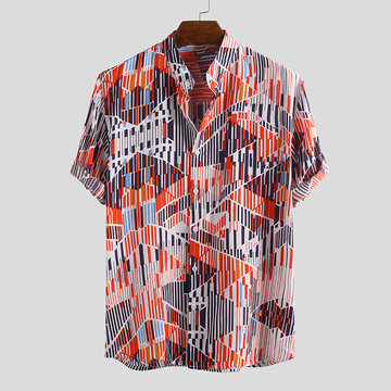 Mens Summer Ethnic Printed Casual Shirts