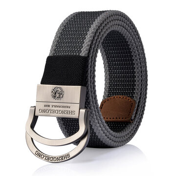 125CM Mens Canvas Double Ring Zinc Alloy Buckle Belt Outdoor Military Tactical Jeans Waistband