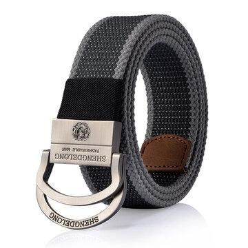 125CM Cinto de Tela Anel duplo Zinc Alloy Cintura com fivela ao ar livre Militar Tactical Jeans para homens