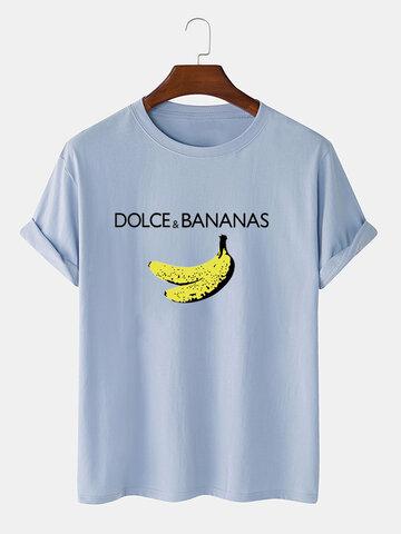 T-shirts en coton à imprimé banane et personnages