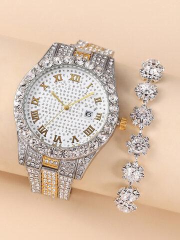 2 Pcs/Set Women Quartz Watch Bracelet