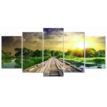 5Pcs Modern Art Printing Lake Landscape Affiche Canvas Peinture Home Wall Decor