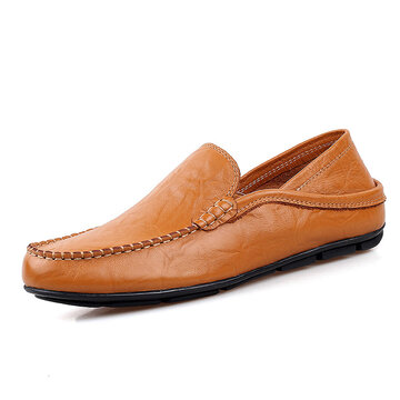 Men Folded Two Way Wearing Leather Slip On Driving Casual Loafers Shoes