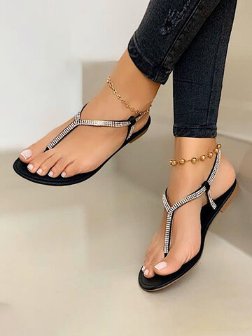 Fashion Flip-Flops With Crystal Beach Sandals