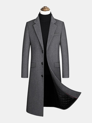Woolen Single-Breasted Long Overcoats