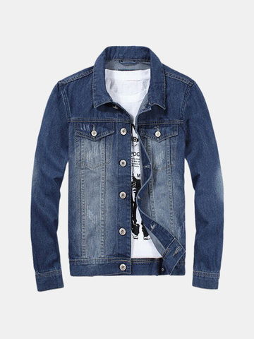 Plus Size Spring Autumn Vintage Style Fashion Denim Slim Long Sleeve Jacket for Men