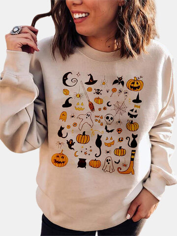 Cartoon Halloween Print Sweatshirt