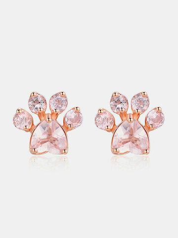 Cute Cat Pink Paw Stud Earrings