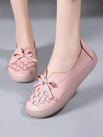 Einfarbig gewebtes Design Schleife Dekor Bequem Soft Loaferaf