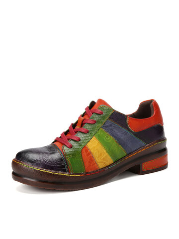 Socofy Rainbow Print Leather Loafers Shoes