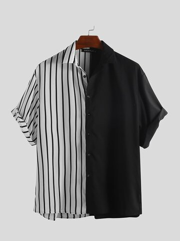 Patchwork Stripe Contrast Color Shirts