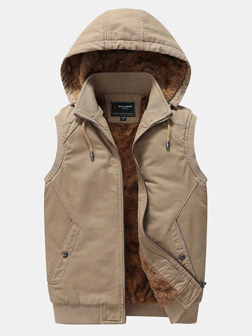 Mens Removable Hooded Vest Warm Sleeveless Fleece Jacket