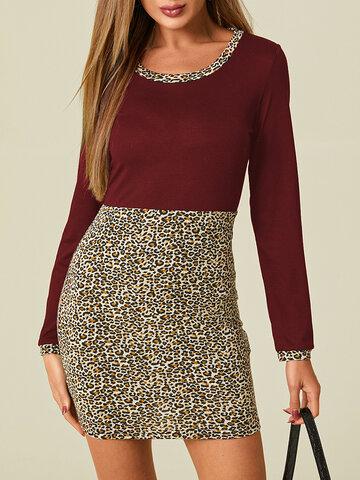 Leopard Patchwork O-neck Print Dress
