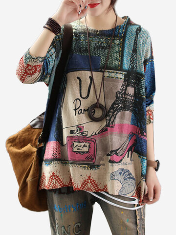 Maglione Vintage Knit Thin Street Print