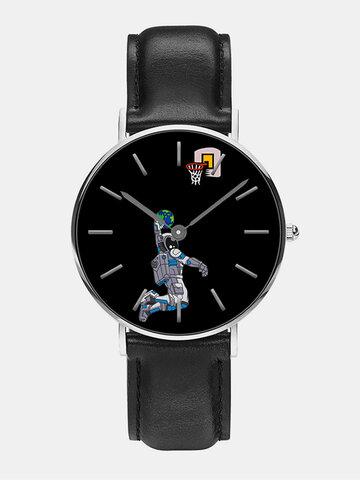 Mens Cartoon Astronaut&Earth Print Quartz Watch