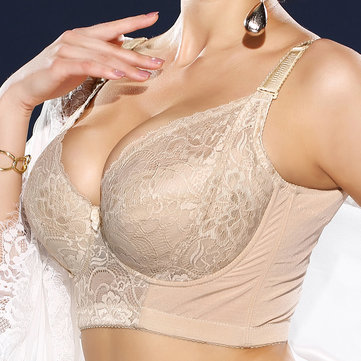 Plus Size Embroidery Gather Plunge J Cup Lace Bra