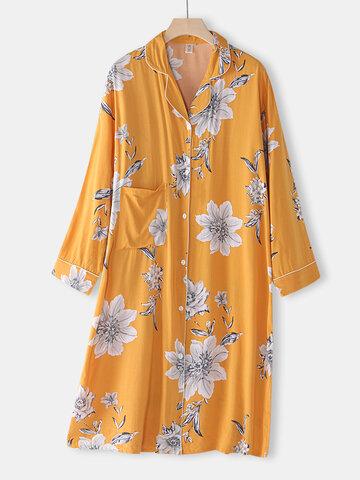 Floral Print Revere Shirt Nightdress