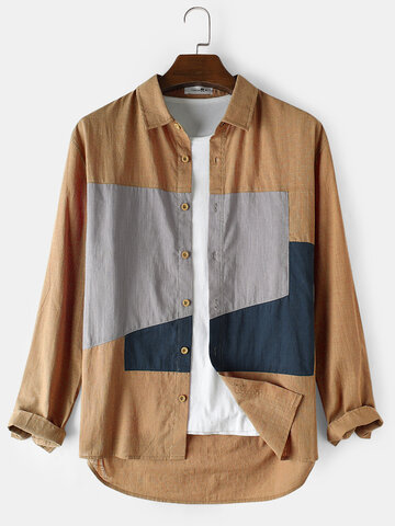 Cotton Colorblock Loose Shirts