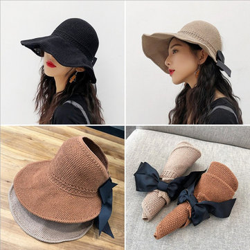 Season New Ladies Sun Hat Travel Folding Sun Hat Sunscreen Big Bow Bow Wild Empty Straw Hat