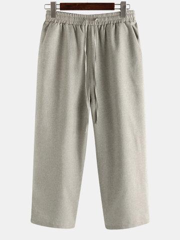 Cotton Linen Ankle-Length Pants