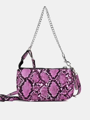 Patchwork Snake-Skin Chain Shoulder Bag Handbag