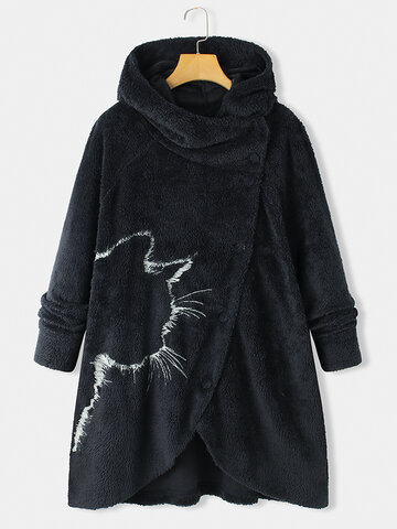 Irregular Cat Printed Hooded Coat