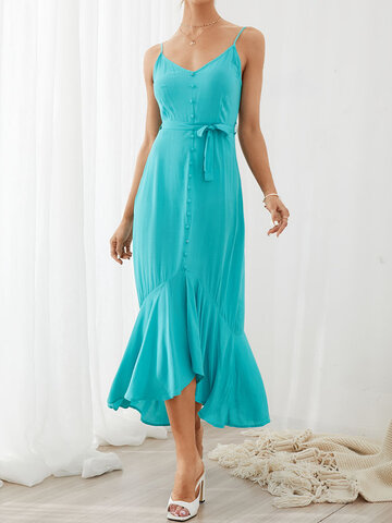 Strap Backless RuffleHem Dress