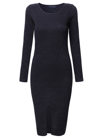 Mulheres de manga comprida Split Pure Color Sexy Slim Knit Dresses