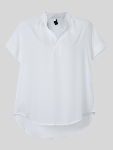 Mulheres Short Sleeve V Neck Pure Color Loose T-shirt