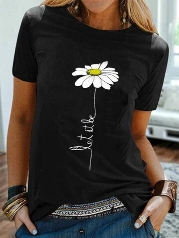 Simple Flower Embroidery T-shirt