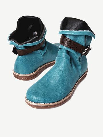 Retro Buckle Belt Flat Short Boots