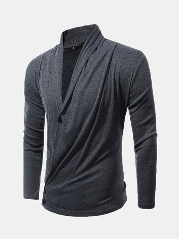 Men's Pleated Knit Deep V-Neck Solid Color Sweater