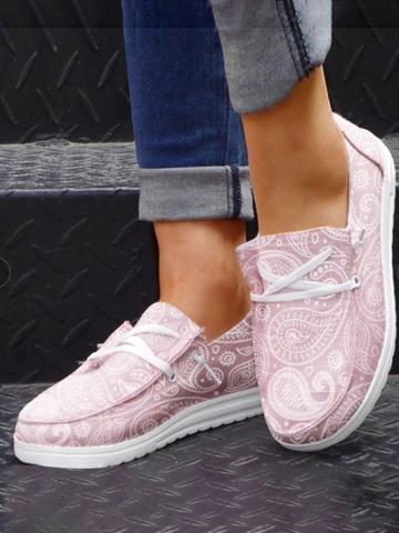 Impresión de zapatos mocasines Wedegs de lona con cordones