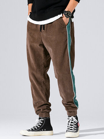Mens Corduroy Side Stripe Casual Loose Drawstring Beam Feet Pants