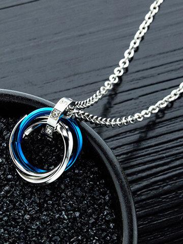 Stereoscopic Three-ring Pendant Necklace
