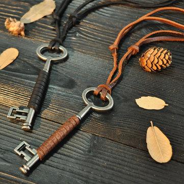 Collana in pelle con chiave vintage