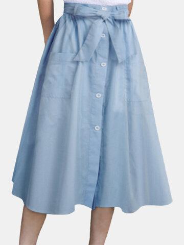 Solid Color Pocket Knotted Skirt