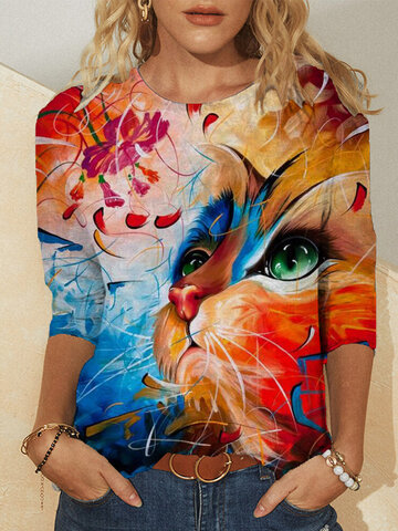 Floral Cat Print O-neck Casual Blouse