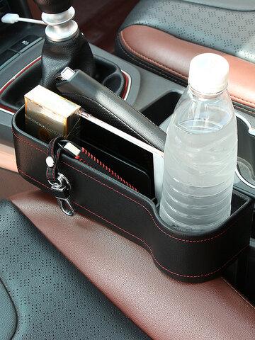 صندوق تخزين فجوة مقعد السيارة من الجلد الأيمن