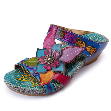 SOCOFY Bohemian Adjustable Leather Sandals