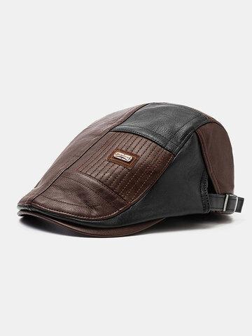 COLLROWN Men Faux Leather Patchwork Color Beret Hat