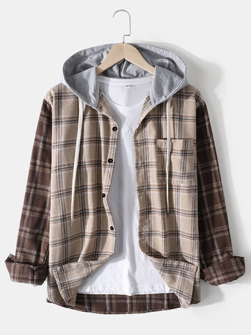 Plaid Patchwork Hooded Shirts